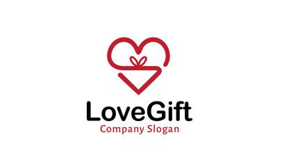 Love Gift Logo Design Illustration
