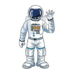 Astronaut man spaceman cosmonaut space cartoon icon. Colorful design. Vector illustration