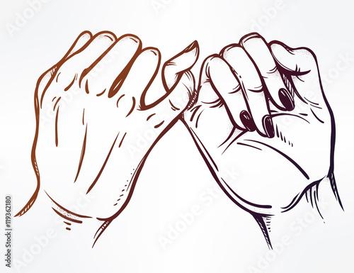 """Pinky Promise, Hand Holding. Trendy Vector Art"" Stock"