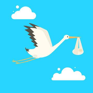Stork delivering baby cartoon vector illustration