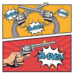 gun revolver bang bubble cowboy pop art cartoon icon. Colorful design comic background. Vector illustration