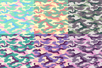 Set of camouflage seamless patterns of unusual colors. Vector illustration