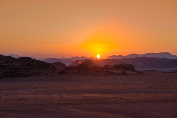 Wadi Rum desert at sunset, Jordan