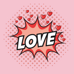love hearts explosion cartoon pop art comic retro communication icon. Colorful pointed design. Vector illustration