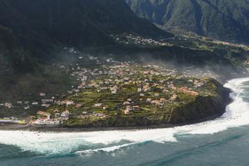 Buildings on rocky coast, Madeira, Portugal