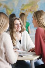 Teenage girls in classroom, Stockholm, Sweden