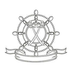 rudder sword ribbon cartoon pirate tattoo marine nautical icon. Black white isolated design. Vector illustration