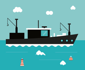 boat ship clouds sea ocen transportation icon. Colorful and flat design. Blue background. Vector illustration