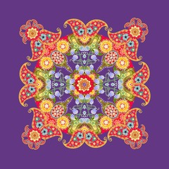 Flower Mandala and Paisley. Beautiful blanket with floral pattern. Bandana print. Tablecloth template. Vector illustration.