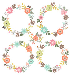 Floral wreaths collection. Set of cute hand drawn wreaths design perfect for wedding invitations and celebration cards