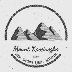 Kosciuszko in Great Dividing Range, Australia outdoor adventure logo. Round trekking vector insignia. Climbing, trekking, hiking, mountaineering and other extreme activities logo template.