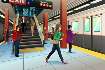 Travelers at Subway Station