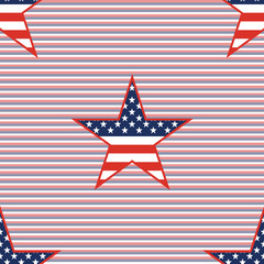 US patriotic stars seamless pattern on red and blue diagonal stripes background. American patriotic wallpaper with US patriotic stars. Surface pattern vector illustration.