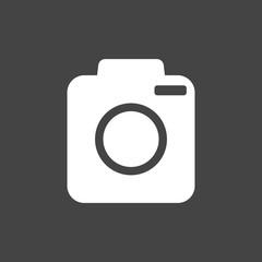 Camera icon on black background. Flat vector illustration.