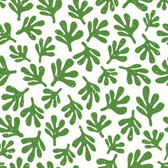 Abstract leaf textured background. Seamless pattern with green leaves