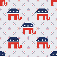 Broken republican elephants seamless pattern on american stars background. USA presidential elections patriotic wallpaper with broken republican elephants. Wrapping pattern vector illustration.