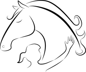 Vector illustration of Girl touching a horse - logo