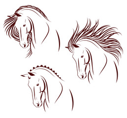 Set of 3 differently stylized horse heads