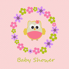 Vector greeting card on the topic of children. Baby shower.