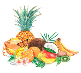Hand drawn watercolor illustration of different exotic tropical fruits with cocktail isolated on the white background