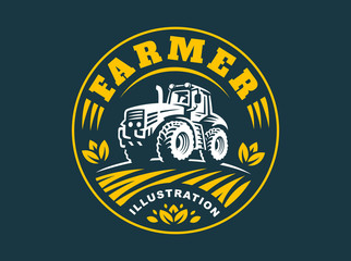 Tractor logo illustration, emblem design