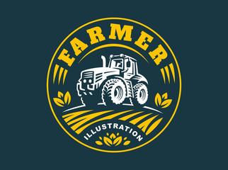Tractor logo illustration, emblem design