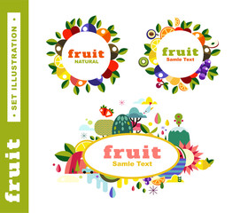 Set fruit emblem stickers