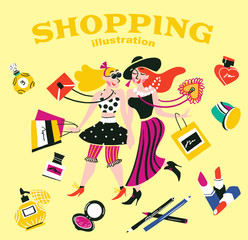 Illustration of girls doing shopping