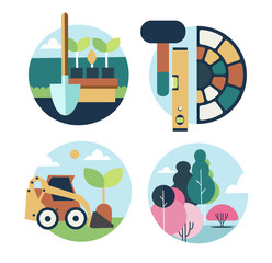 Icons set landscape design
