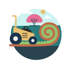 Lawn mowing icon illustration