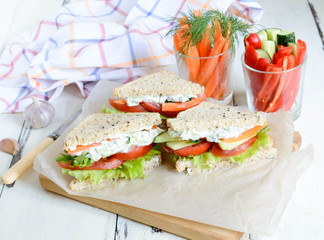 sandwich with vegetables and cheese