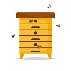 Wooden Beehive on white background.
