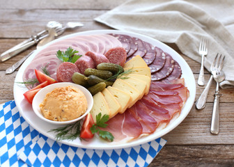 Oktoberfest snack: cold plate served with beer