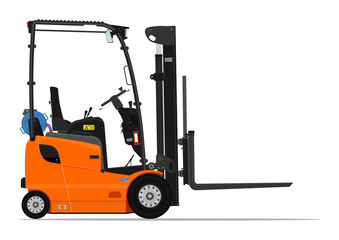 Orange propane counterbalance forklift on a white background. Flat vector