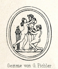 Engraved carnelian gem by Giovanni Pichler - Two nymphs crowned Pan's sculpture (from Meyers Lexikon, 1895, 7/286-7)