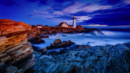 Portland Head Light at sunrise after the storm.  Still in the Blue Hour