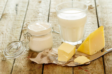 Poster de jardin Produit laitier Different dairy products