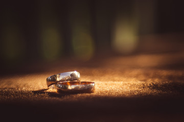 Blurred picture of sparkling wedding rings lying on the brown cl