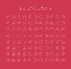 Thin outline icons for web and mobile