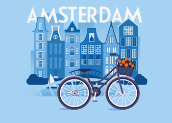 Vector city background. Amsterdam