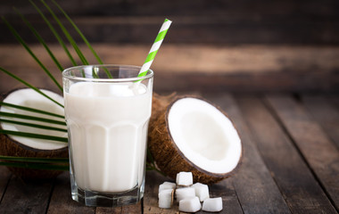 Coconut milk in the glass