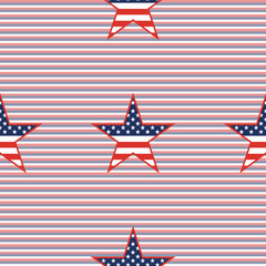 US patriotic stars seamless pattern on red and blue diagonal stripes background. American patriotic wallpaper with US patriotic stars. Ornament pattern vector illustration.