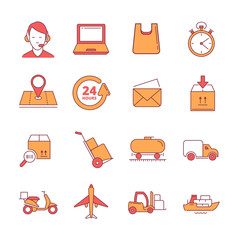 big vector linear Icons set of logistics and delivery