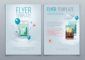 Business Brochure Template With Smartphone