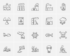 Ecology sketch icon set.