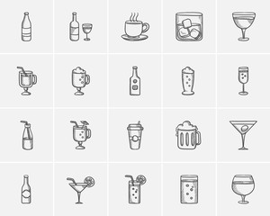 Drinks sketch icon set.