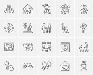 Family sketch icon set.
