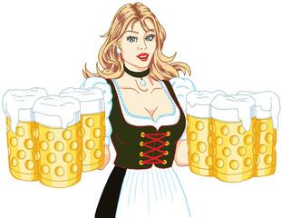 mädchen mit bierkrug oktoberfest