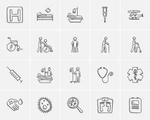 Medicine sketch icon set.