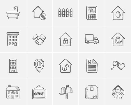 Real estate sketch icon set.